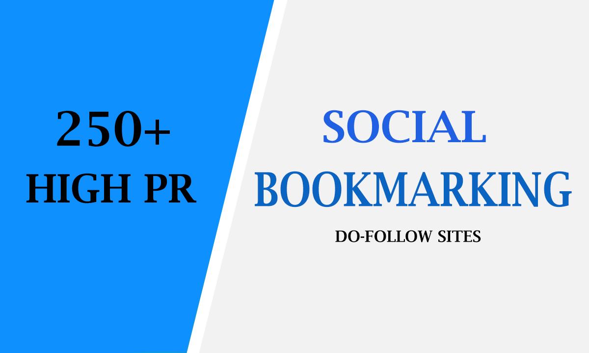 I will provide 250 high PR top social bookmarking backlinks for website