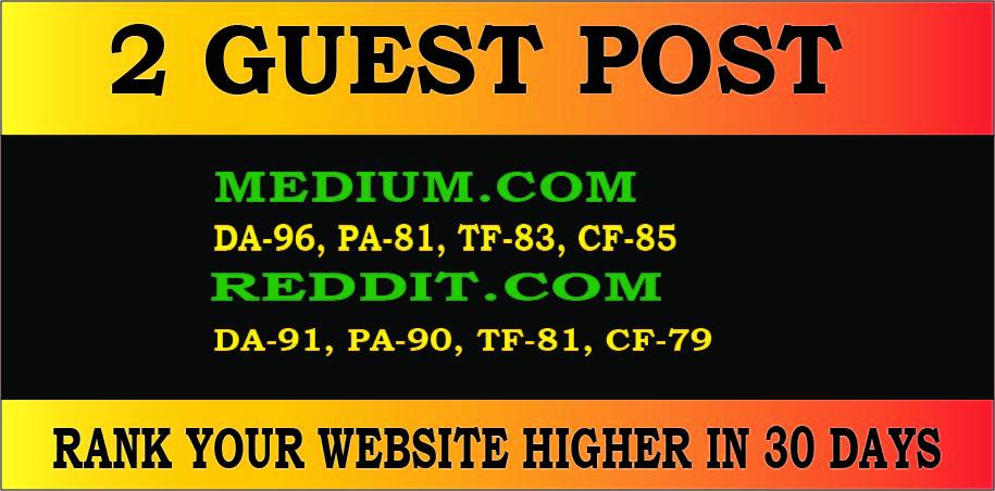 Publish 2 guest posts on high DA PA