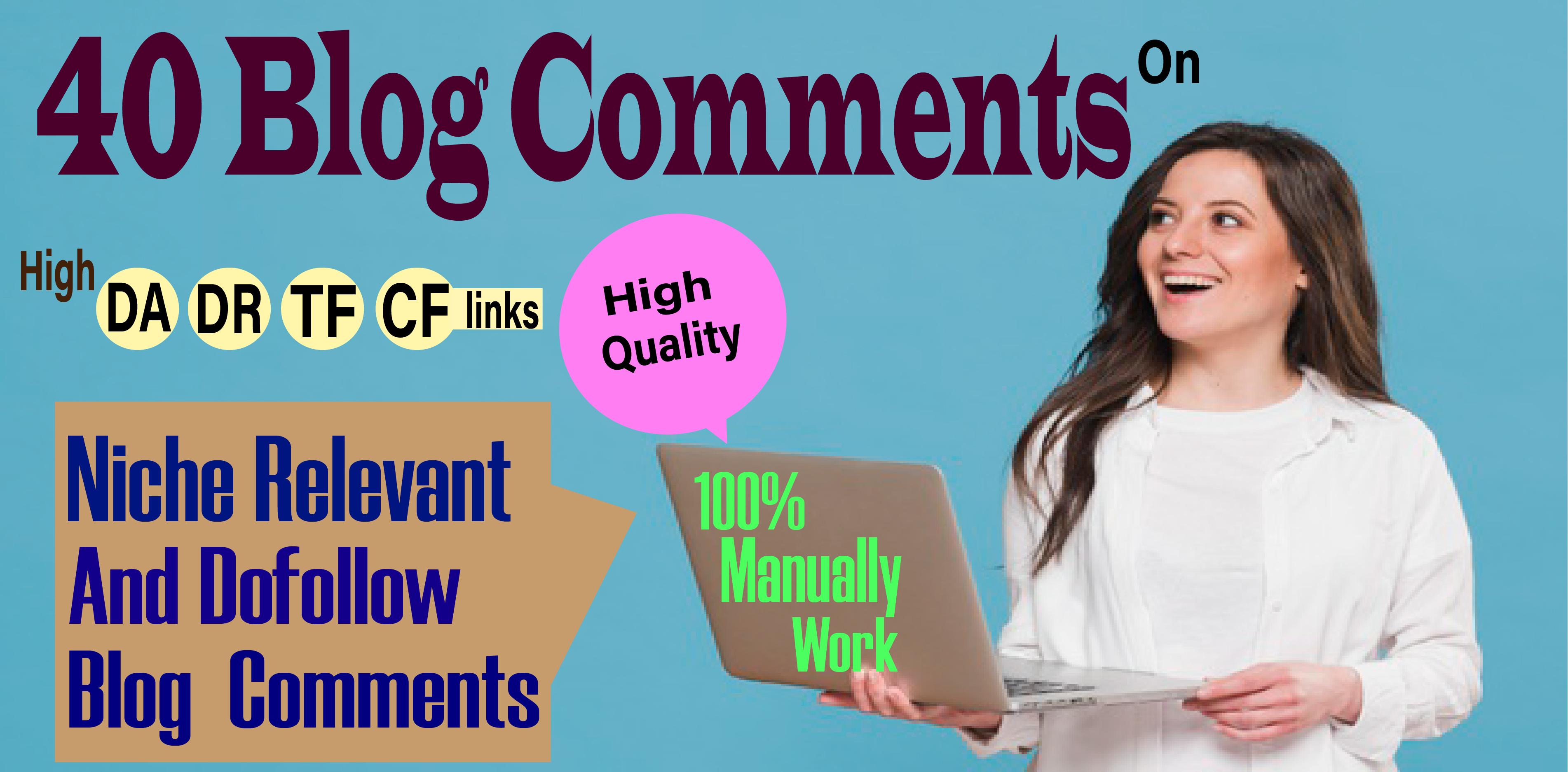 I Will Create 40 Blog comments backlinks DA-50+