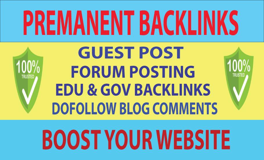 5 Guest Post,  2 Edu Backlinks,  20 Forums Post Backlinks & 30 Blog comments Backlinks