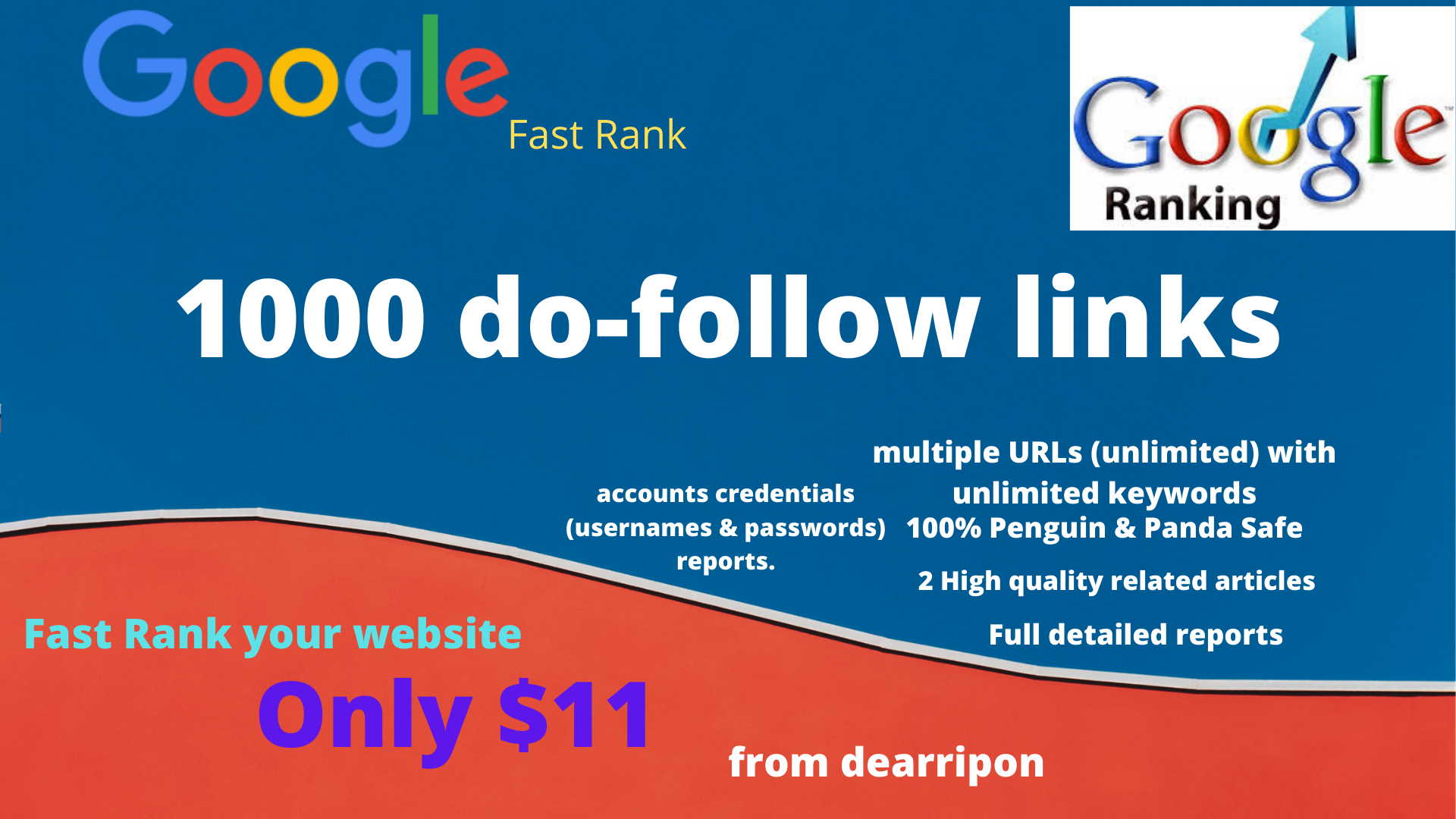 Google Fast Rank your site 1000 do-follow backlinks