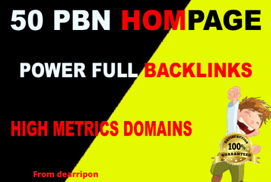 50 High DA/PA TF/CF Homepage PBN Backlink on DA25+to DA40
