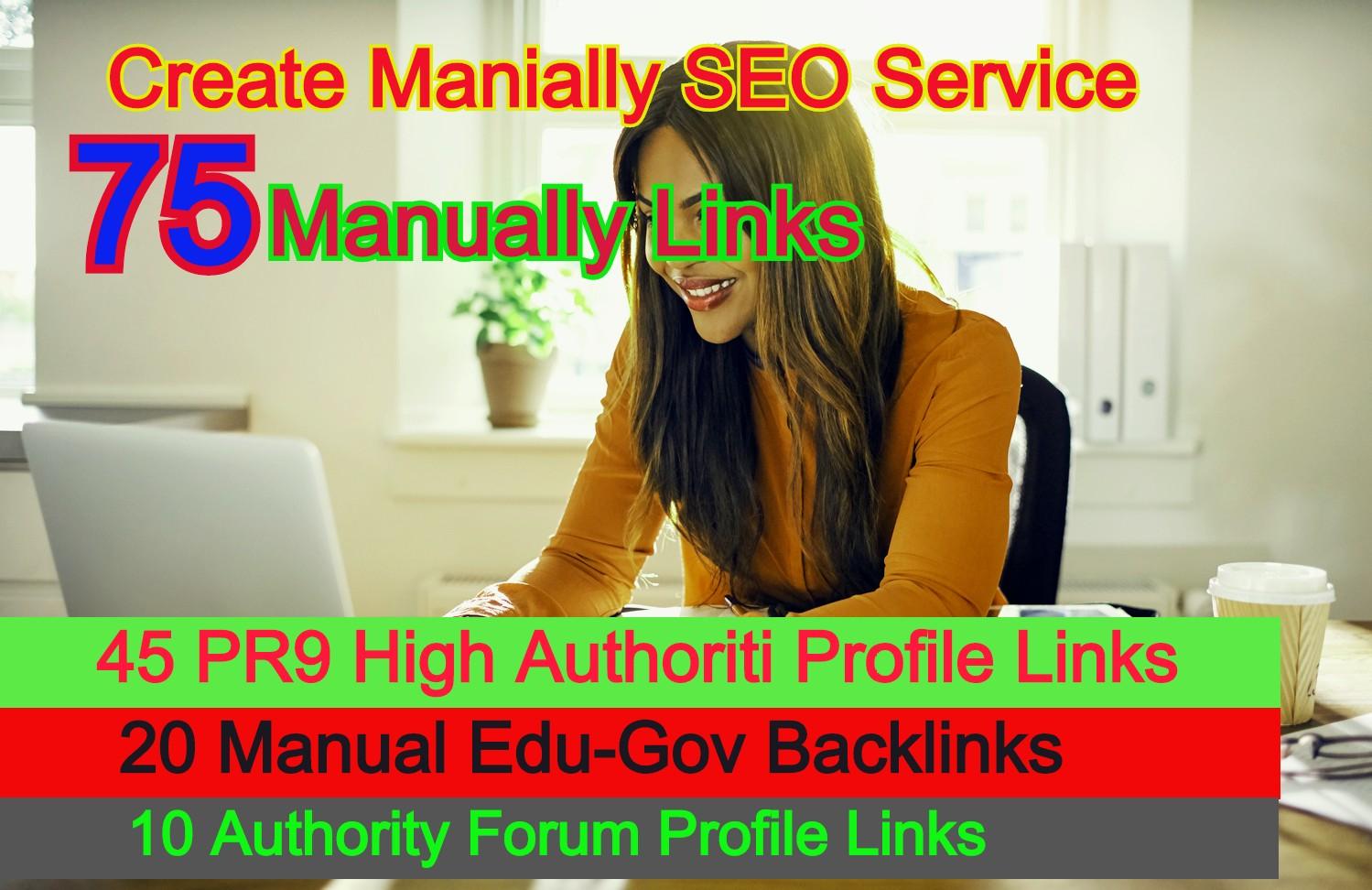 I Will Create 75 Manually Links From 45 PR9 + 20 Manually Edu-Gov Profile 10 Forum Profile links