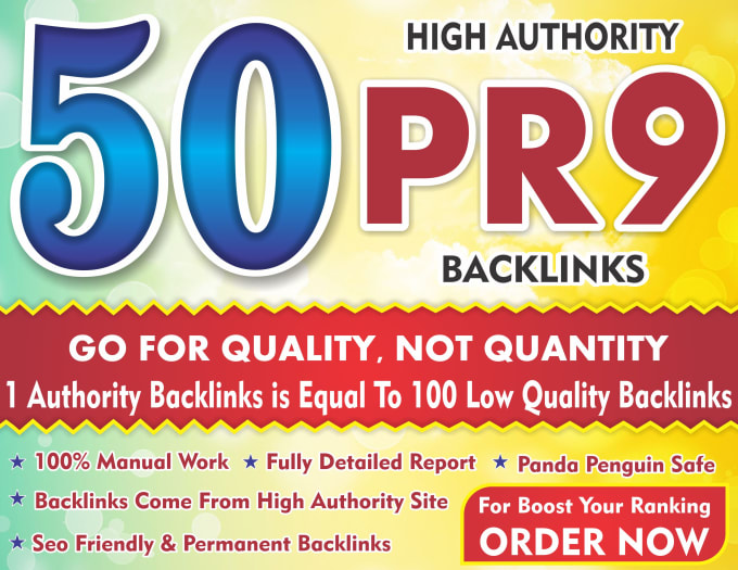 Boost your ranking with 50 pr9 high authority backlinks