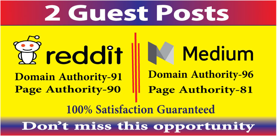 Write & publish 2 guest posts on reddit & medium. com high quality DA-90+ blogs