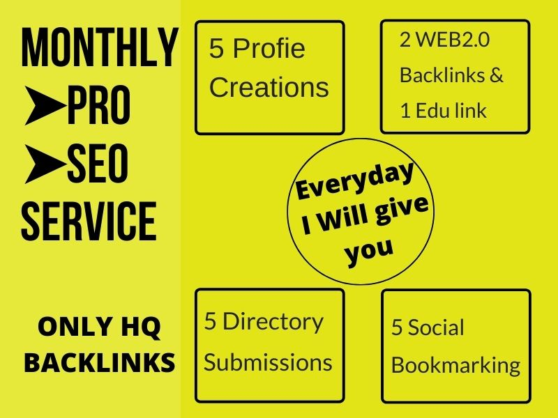 Monthly Pro link building service. I will give you per day high quality backlinks manually
