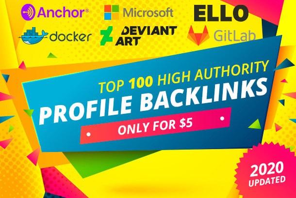 I will 100 SEO dofollow profile backlinks high da tf dr white hat manual link building