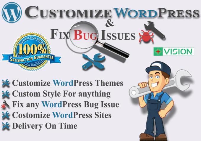 update,  fix error,  customize and set up new wordpress site