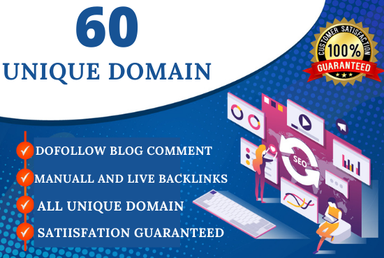 create 60 blog comment dofollow backlinks on unique domains