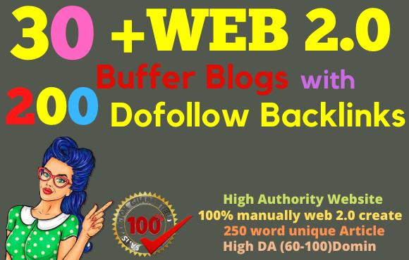 I will make 30 web2 0 buffer blogs with 200 dofollow profile backlinks