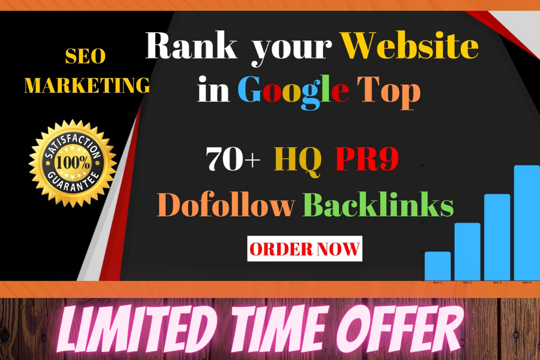 I will creat 70+ High quality pr9 & Dofollow strong backlinks manually in 4 days.