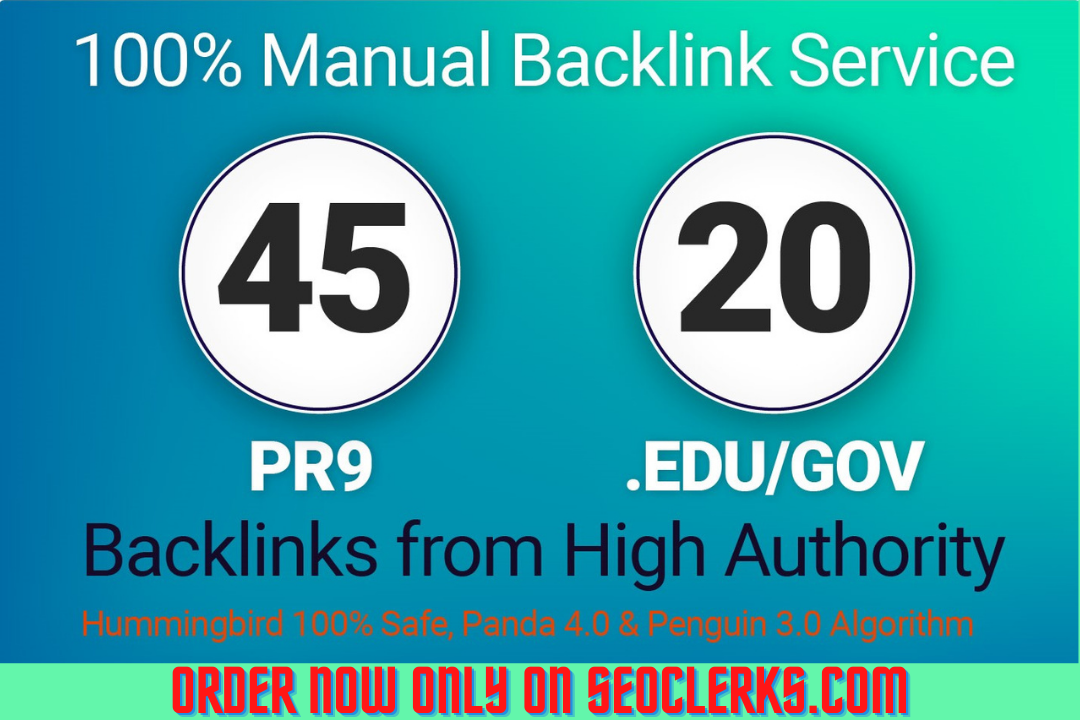 Buy 45 PR9 & 20 EDU/GOV very high quality strong & hand working backlinks in limited time offer.