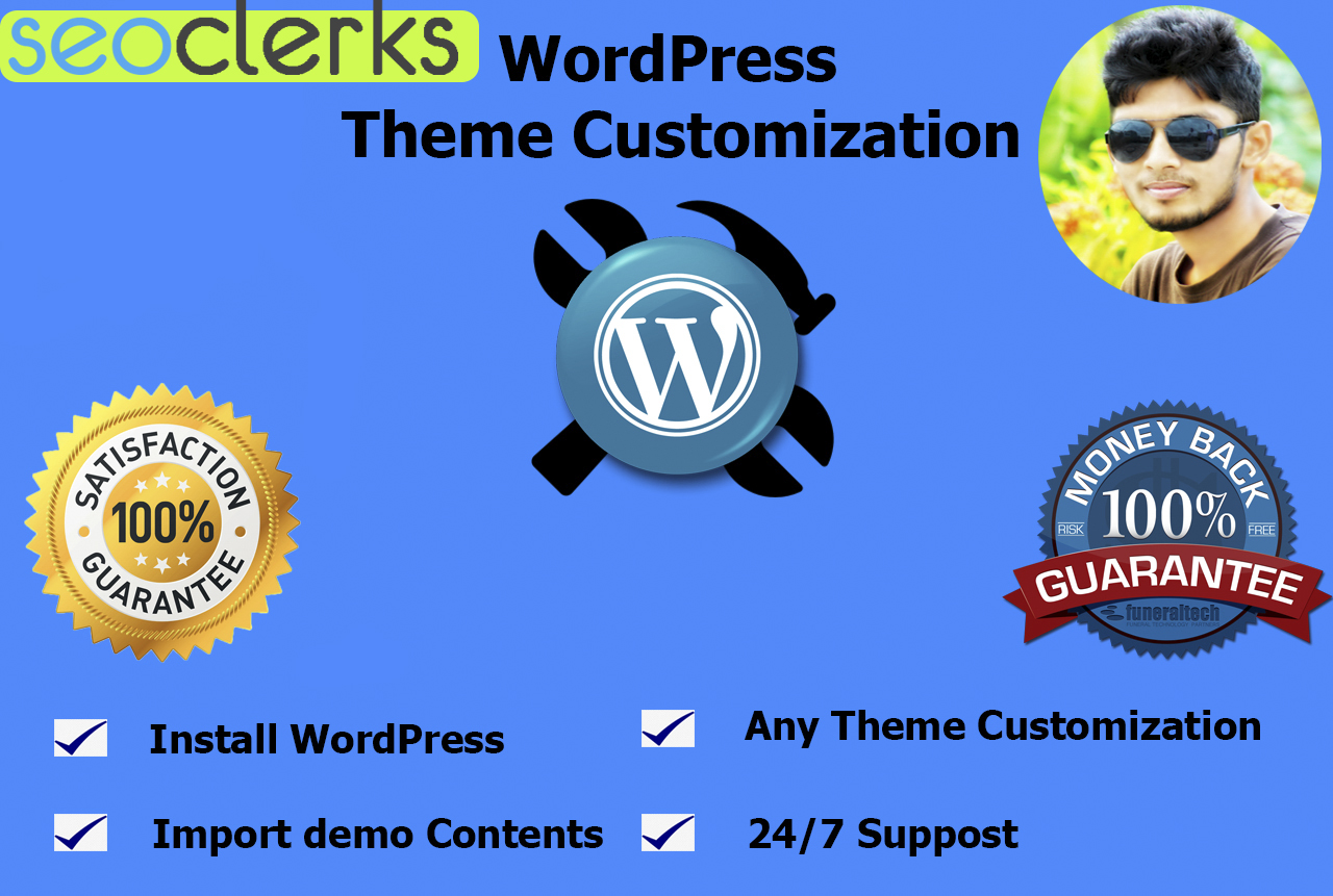install wordpress,  setup theme, import demo,  some customization