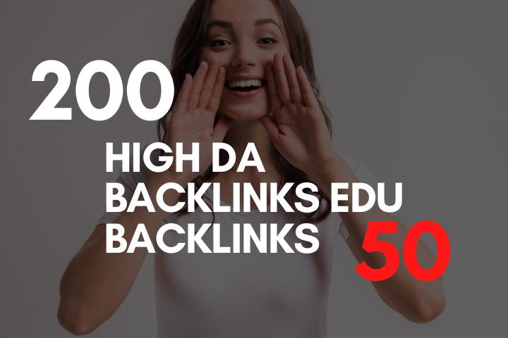 Do 200 High DA SEO backlinks With 50 EDU Backlinks