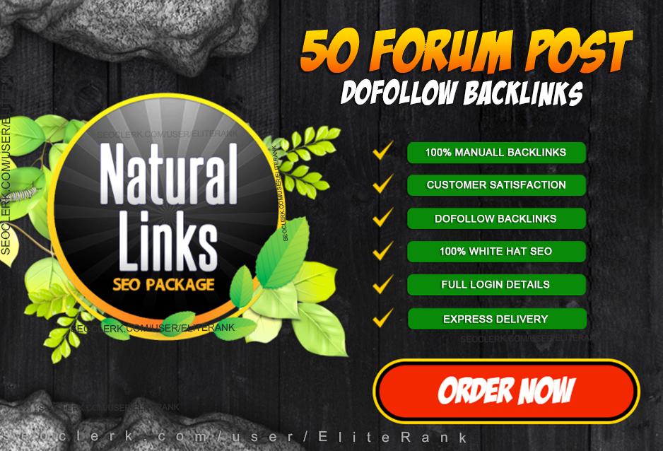 manually do 50 high quality Natural forum posting backlinks