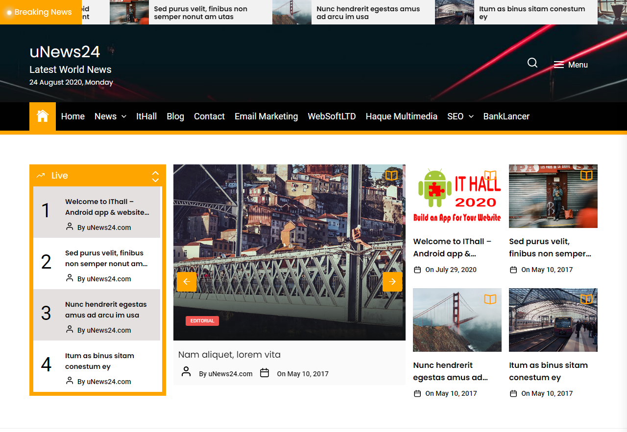 Online News Portal - WP Website - Android Mobile app - With Free Web hosting