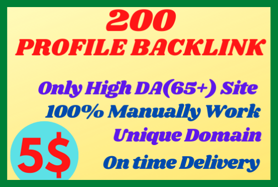 I will Build Manually 200 High DA Profile Backlinks