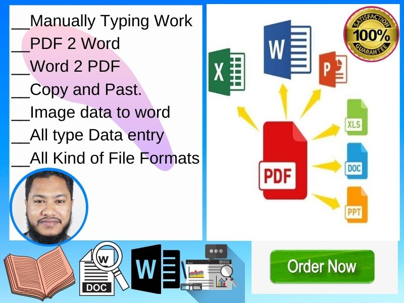 Any Data entry work PDF to word excel copy paste image data to word