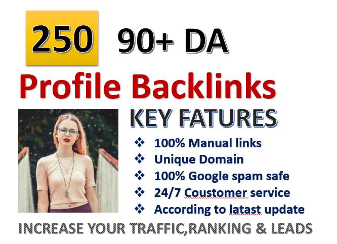 I Will MANUALLY Do 90+DA 250 Profile BackIinks for Google Ranking