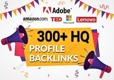 I will Provide 300 HIGH 90+ DA/PA profile backlinks in google ranking