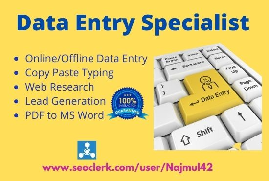 I will do Data Entry,  Copy Paste,  Fast Typing work and Lead Generation.