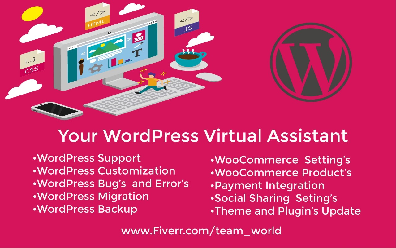 I will be your professional assistant for any wordpress task