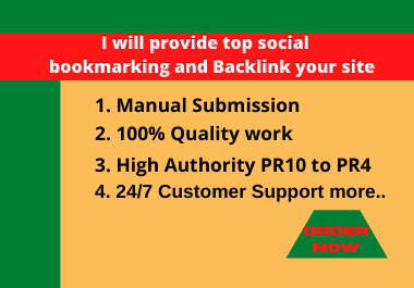 I will provide top50+ social bookmarking and Backlink your site