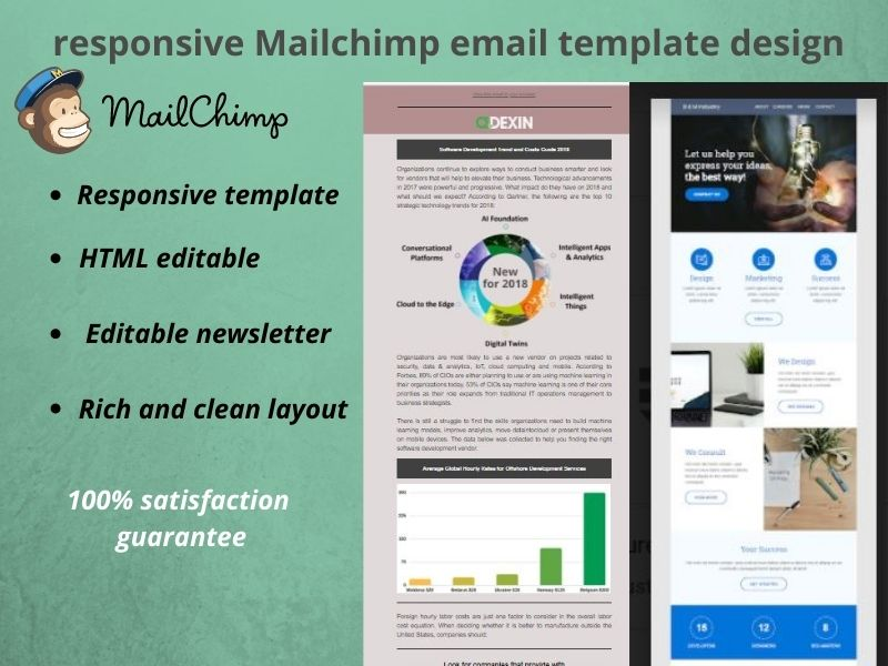I will do design responsive Mailchimp email template