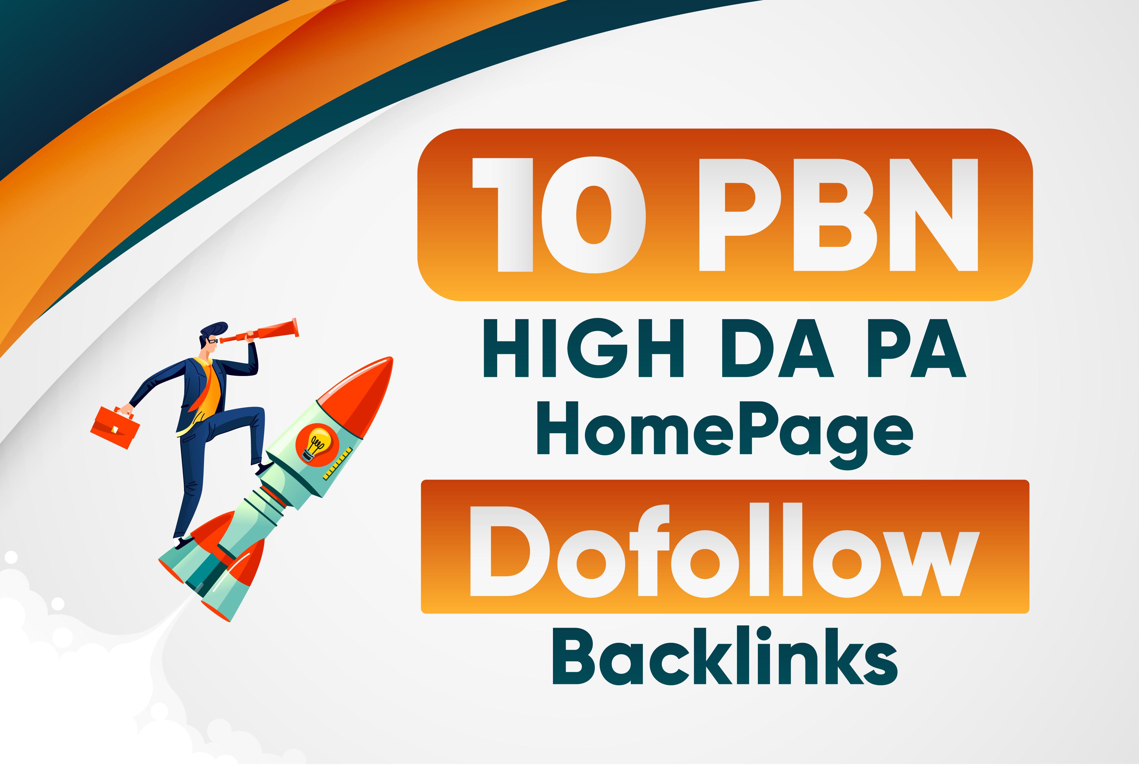 Build 10 High DA PA Homepage PBN Dofollow Backlinks