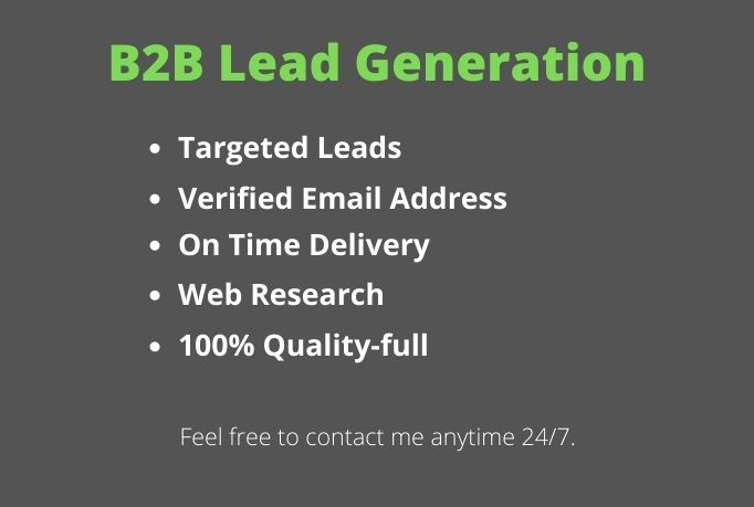 I will provide any kind of B2B lead generation job for target industry