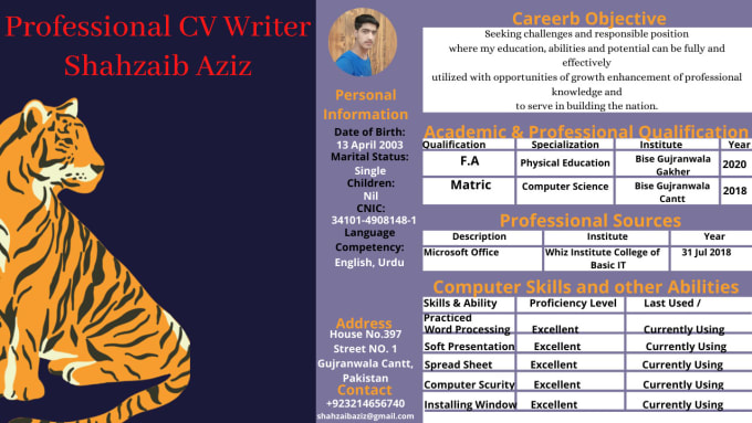 I will write and design a professional resume and CV writing in 1 hour in very lower price
