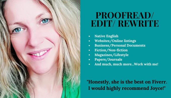 I will provide native English high quality proofreading and editing