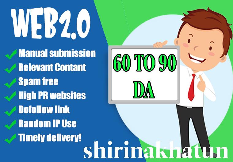 I will build 50contextual web2.0 high quality seo dofollow manual backlinks