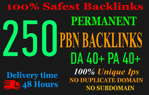 Get Extreme250+PBN Backlink in your website hompage with HIGH DA/PA/TF/CF with unique website