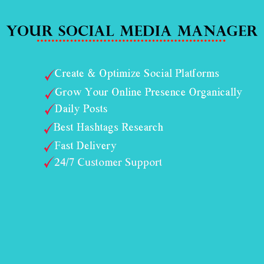 I will be Your Social Media Manager and Marketing