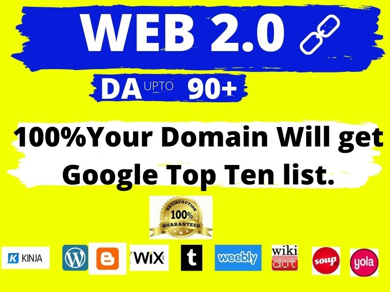 Looking 50 Super Web 2.0 backlinks with High Authority 90 + DA, TF, CF, DR, UR, PA
