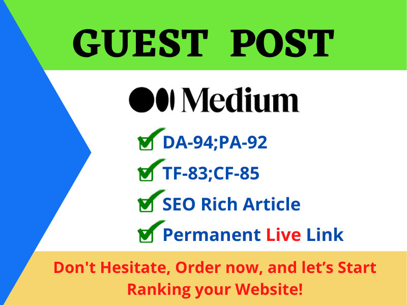 Write and Publish a Guest post on Medium with permanent backlink