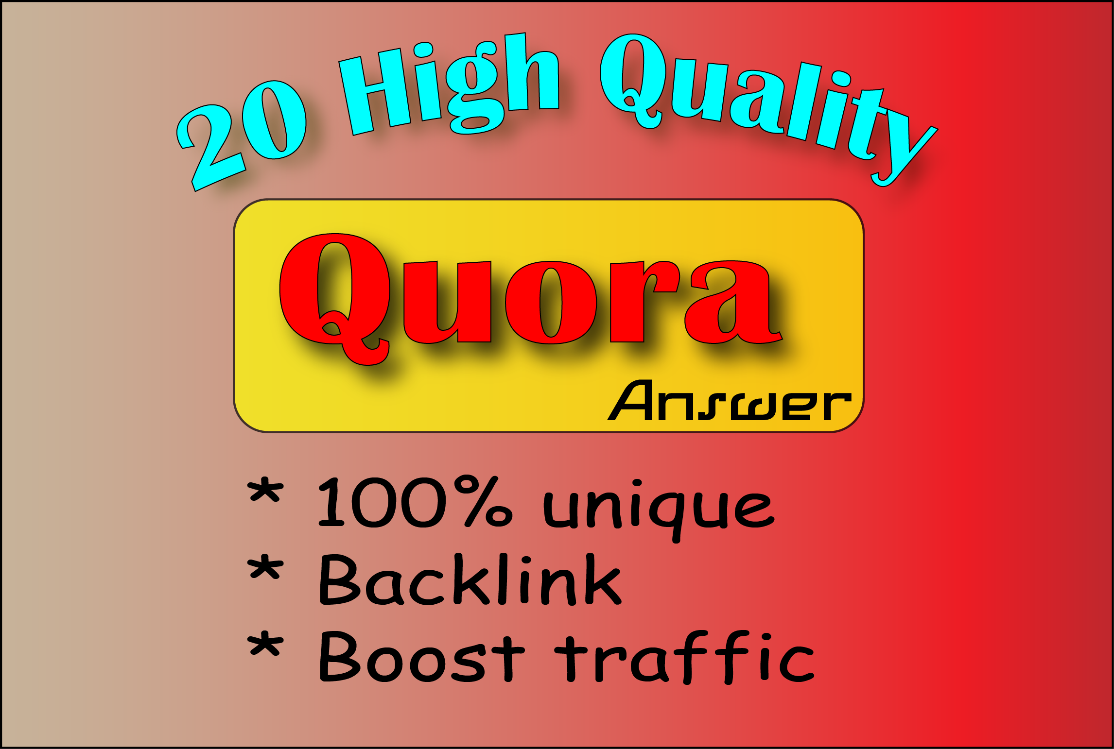 I provide 25 High Quality Quora Backlinks