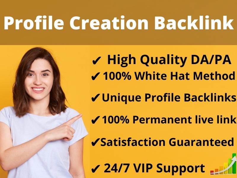 I will Create Manually 100 high Authority DA & PA Social Profile Creation Backlinks for Website Rank