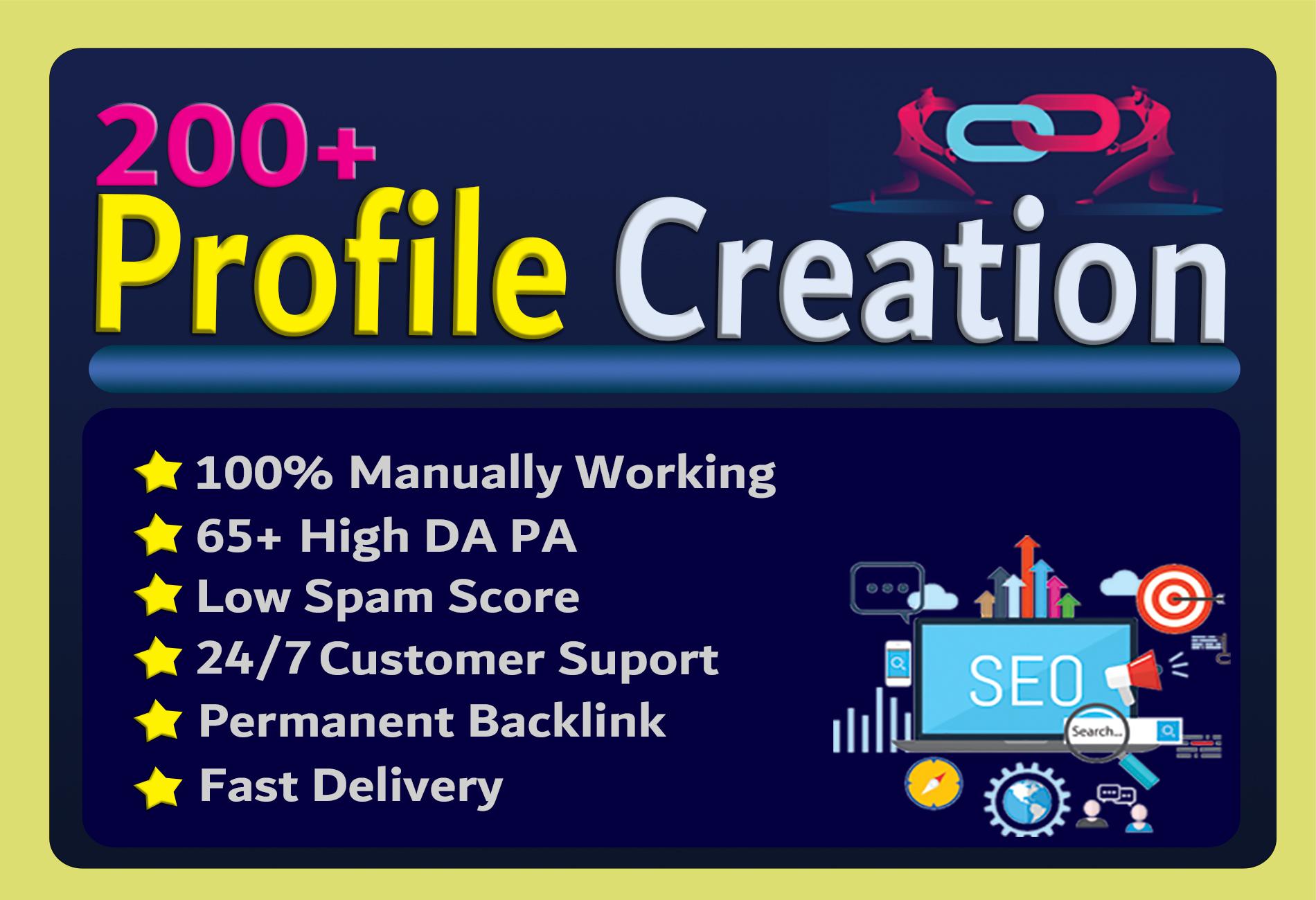 I will Create 200 High DA Profile Creation Backlinks