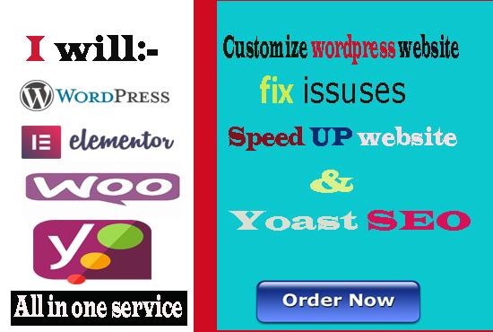 I will fix issuses wordpress customization and yoast seo