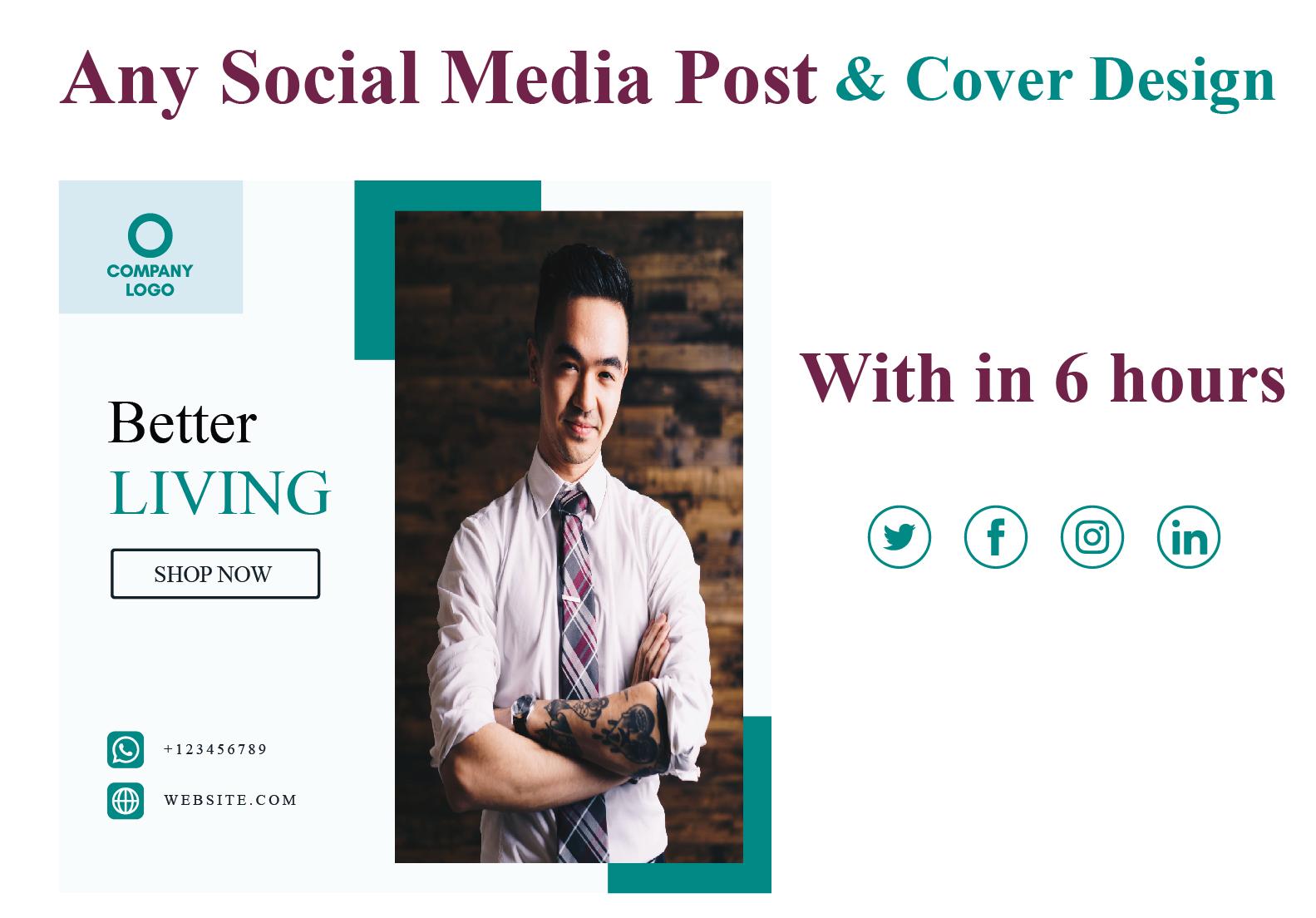 I will professionally design any social media post & cover design