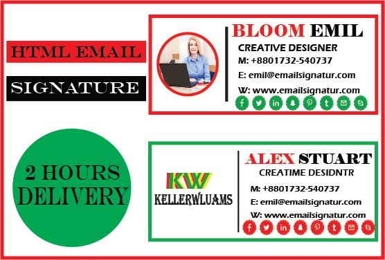 I will create a professional Clickable HTML EMAIL Signature for your outlook or Gmail etc