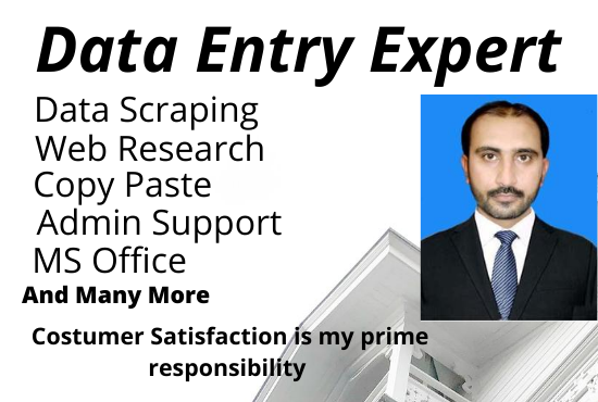 I will do Data Entry,  web scraping,  copy paste,  web research,  Ms Office & admin support