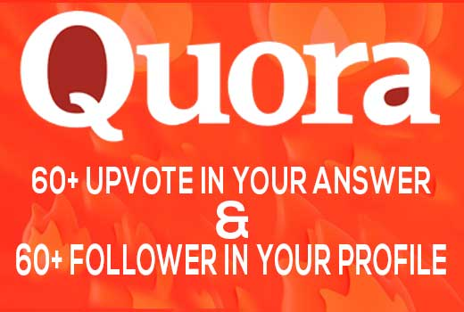 50+quora upvote and 50+follower from high quality, UK, USA or worldwide Profile.