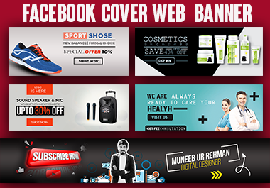 Professional Web Banner,  Facebook Cover Linked in banner and youtube banner Design