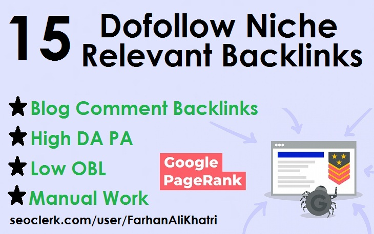 I will do 15 dofollow niche relevant blog comments backlinks