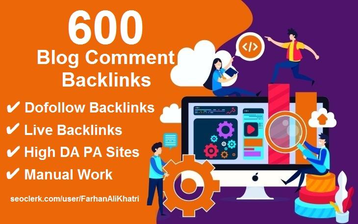 Manual 600 blog comments dofollow backlinks on high DA PA