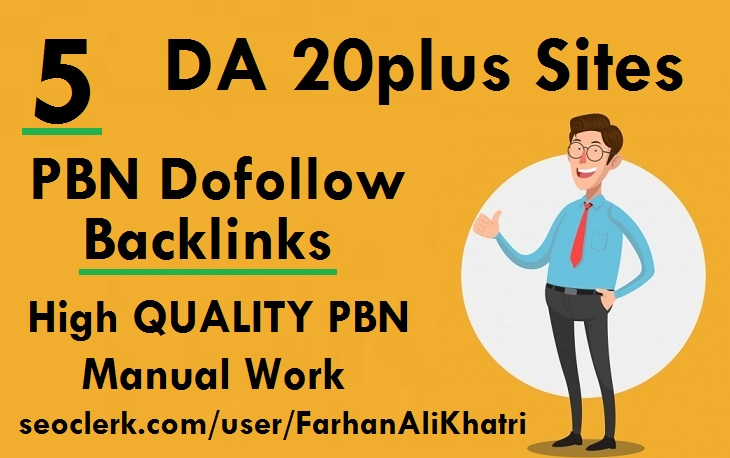 I will build SEO service 5 high DA 20plus sites PBNs dofollow backlinks