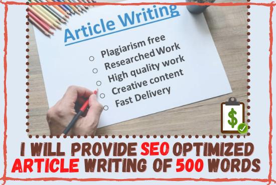 I provide SEO optimized ARTICLE and BLOG POST writing